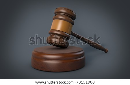 A 3d modell of a gavel with side toning - stock photo