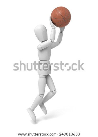 A 3d people playing basketball. 3d image. Isolated white background - stock photo