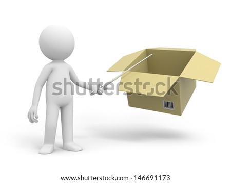 A 3d people pointing at a package box - stock photo
