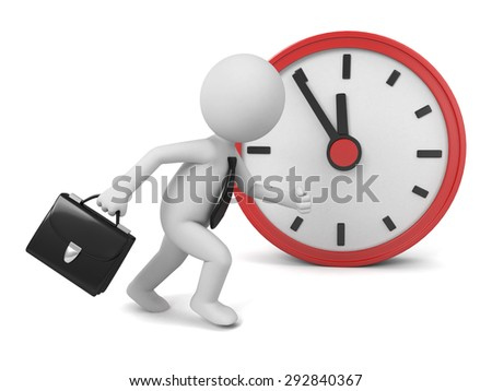 A 3d people running, a red clock. 3d image. Isolated white background - stock photo