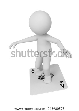A 3d people standing on a card flying. 3d image. Isolated white background - stock photo