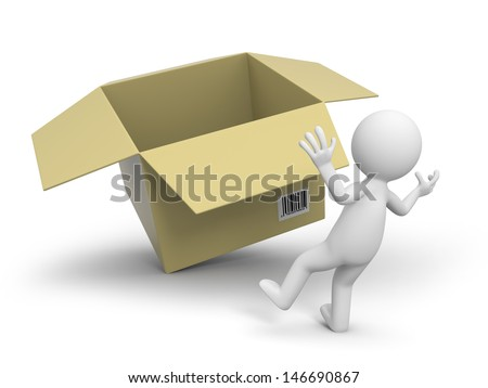 A 3d people surprised by a package box - stock photo