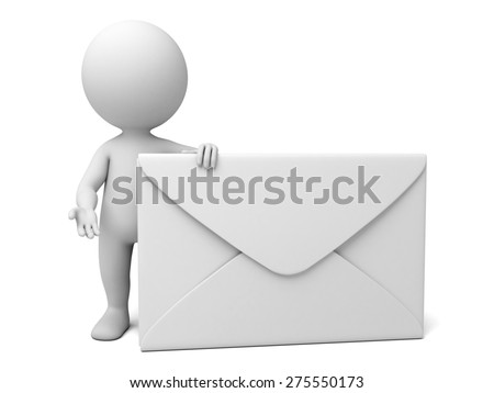 A 3d people with a mail. 3d image. Isolated white background - stock photo