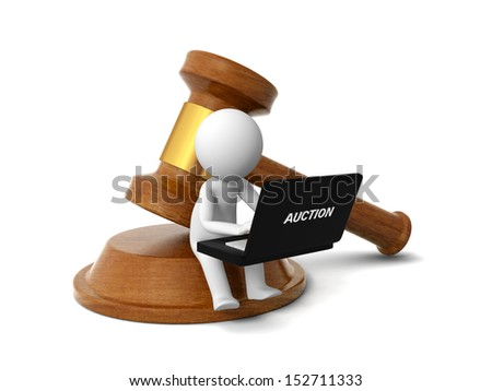 A 3d people working back to a gavel - stock photo