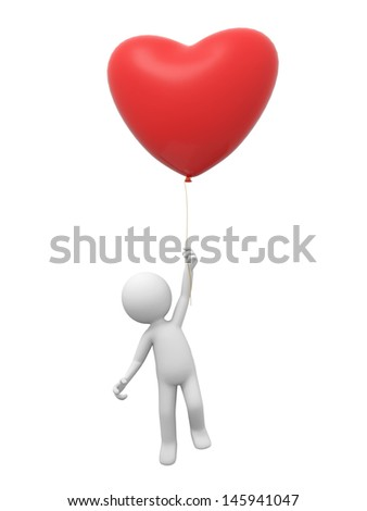 A 3d person jumping to hold the balloon - stock photo