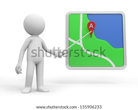 A 3d person pointing at a navigator with a stick - stock photo
