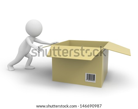 A 3d person pushing a package box - stock photo