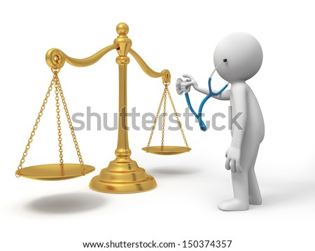 A 3d person watching a scale with a stethoscope - stock photo