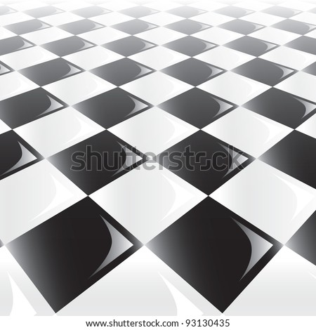 A 3d perspective view of a chess or checker board. Raster. - stock photo