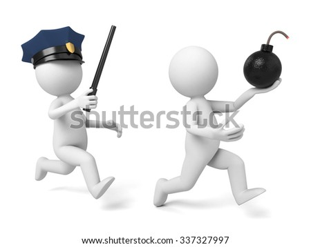 A 3d policeman is chasing the terrorist - stock photo