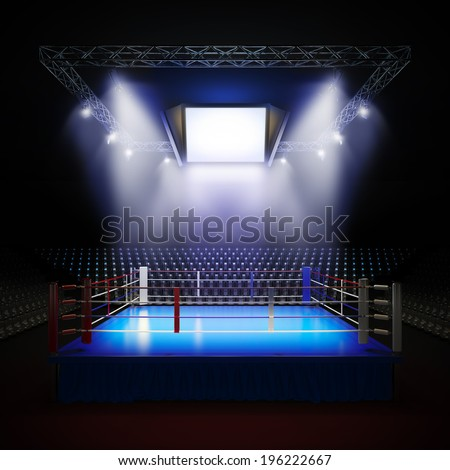 A 3d render illustration of empty professional boxing ring with illumination by spotlights. - stock photo
