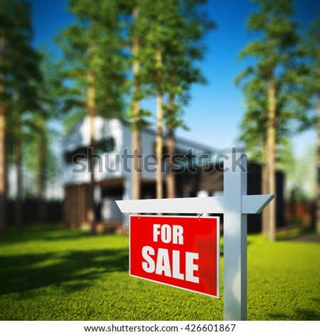 A 3D render illustration of Home For Sale sign in front of new modern house. - stock photo
