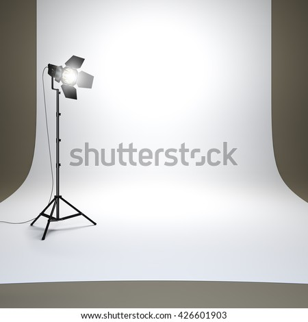 A 3d render illustration of photo studio with white background and flashlight. Surface empty to place your object, text or logo. - stock photo