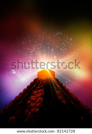A 3d render of a Mayan temple with light effects emanating from the top - stock photo