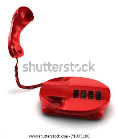 A 3D render of a red telephone isolated on white - stock photo