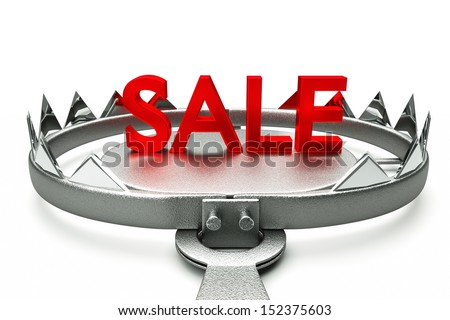 a 3d render of fake discounts concept - stock photo