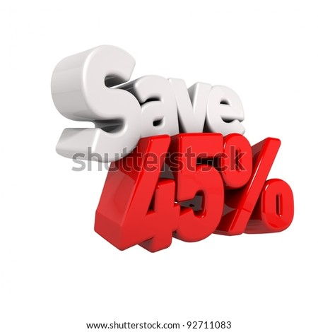 A 3d render of forty-five percent price reduction and save in text and numbers angled obliquely isolated on white - stock photo