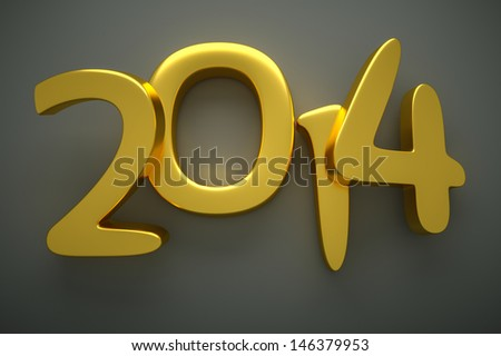 a 3d render of 2014 gold digits - stock photo