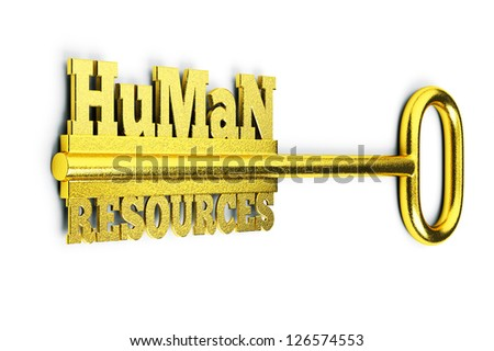 a 3d render of key with words, creative idea - stock photo