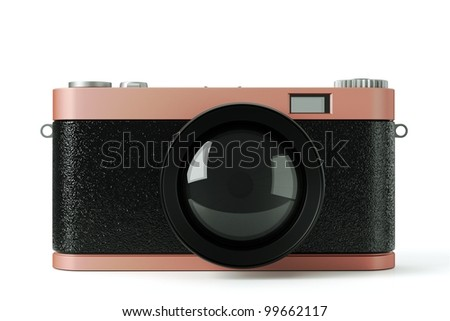 a 3d render of photo camera on white - stock photo