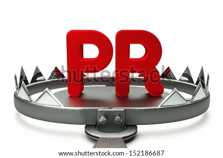 a 3d render of pr concept with trap - stock photo