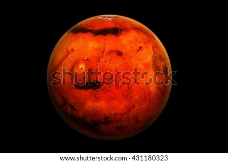 """A 3D render of the planet Mars with a realistic atmosphere on a black background. """"Some elements of this image provided by NASA."""" - stock photo"""