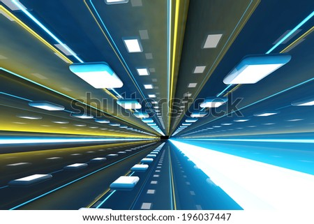 A 3D rendered architecture interior of a tunnel. - stock photo