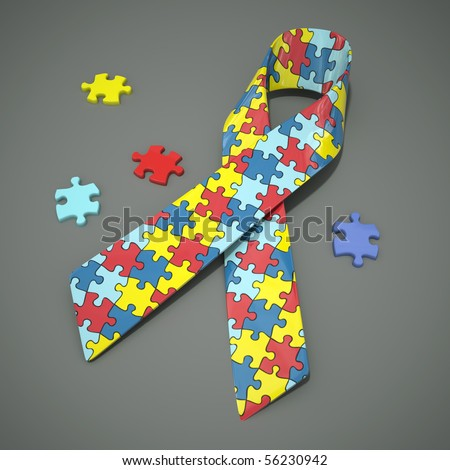 A 3d rendered autism awareness ribbon with colored puzzle pieces. Clipping path included. - stock photo