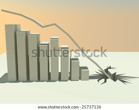A 3d rendered bar graph showing continual decline until the line crashes through the floor. - stock photo