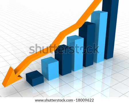 A 3D rendered illustration of a bar graph on a white background showing a decline with a ornage arrow point downward - stock photo