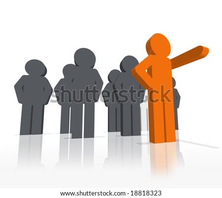 a 3D rendered illustration of a group of workers being lead by stand out, different colored leader pointing the way forward - stock photo