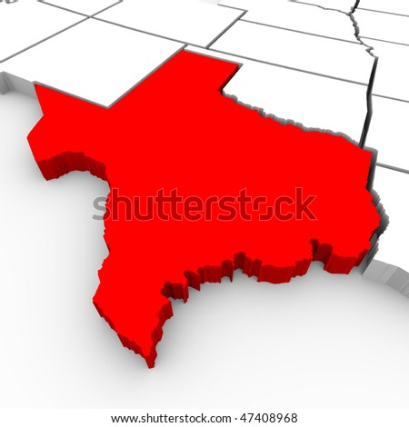 A 3d rendered map of the state of Texas - stock photo