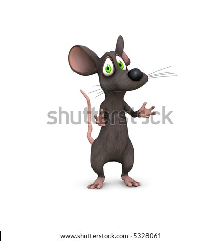 a 3d rendered mouse beckons with cute face - stock photo