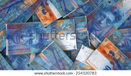 A 3D rendering of a close-up view of three wads of folded over stacks of south african banknotes each bound informally by a rubber band on an isolated studio background - stock photo