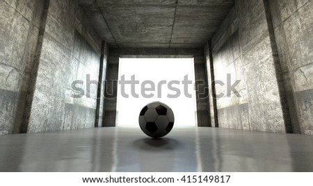 A 3D rendering of  a distant look down a dark stadium tunnel to enter a lit arena in the distance with a rugby ball placed at the entrance - stock photo