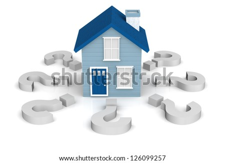 A 3D rendering of a little blue house on a white background with questions marks surrounding it. Could be used for a home buyers seminar workshop relating to questions about first time home buyers. - stock photo