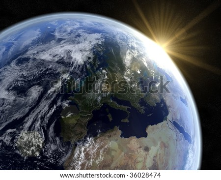 A 3d rendering of a sunrise in space - stock photo