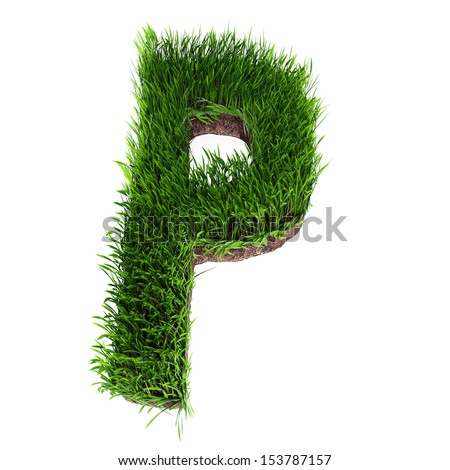 A 3D rendering of an upper case P in grass - stock photo