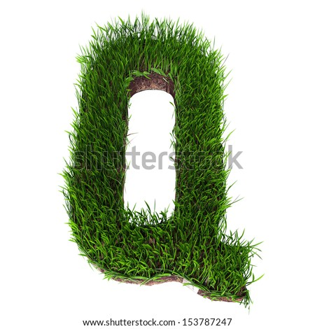 A 3D rendering of an upper case Q in grass - stock photo