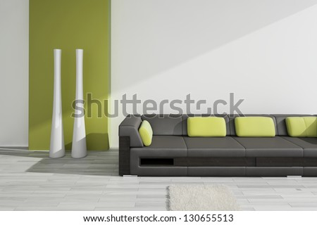 A 3D rendering of black leather sofa with green pillows - stock photo