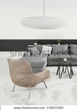 A 3D rendering of gray living room interior - stock photo