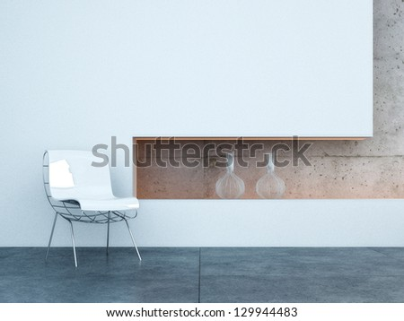 A 3D rendering of interior design scene with a modern chair - stock photo