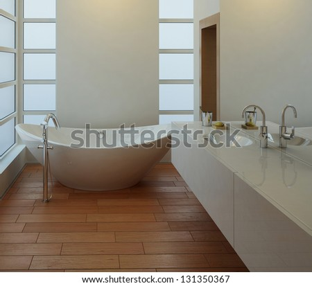 A 3D rendering of light bathroom interior - stock photo