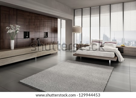 A 3D rendering of modern bedroom with floor to ceiling windows - stock photo