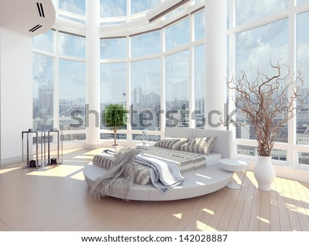A 3d rendering of modern bedroom with floor to ceiling windows and cityscape view - stock photo