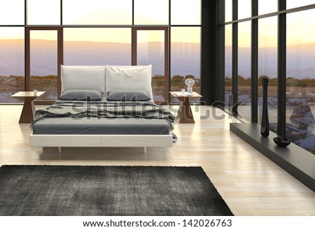 A 3d rendering of Modern Design Bedroom with landscape view - stock photo