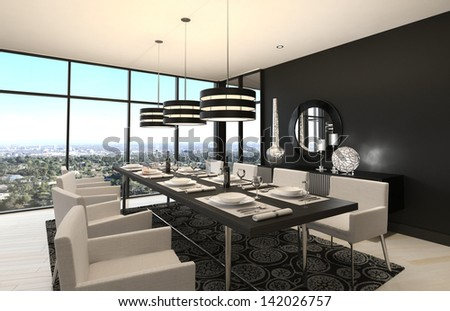 A 3d rendering of Modern Design Dining Room | Living Room Interior - stock photo