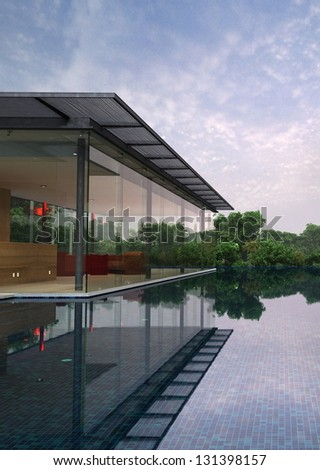 A 3D rendering of modern house - stock photo