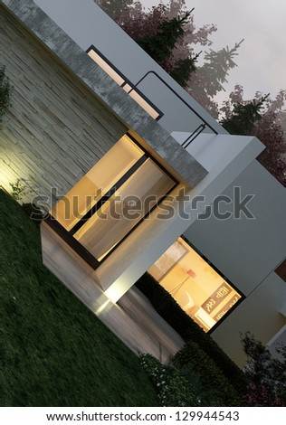 A 3D rendering of modern house exterior with lawn - stock photo