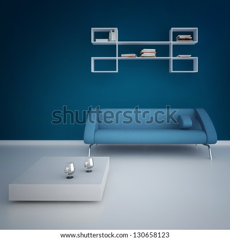A 3D rendering of modern interior with blue sofa - stock photo
